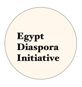 Image: A minimalistic yet meaningful logo: the lettering is positioned to resemble Egypt's geographical shape and the circle which encompasses it is representative of the diaspora's global reach and initiative's all-embracing scope.